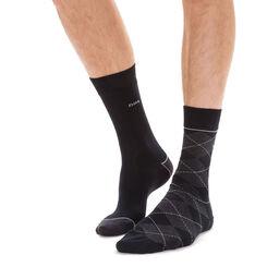 Lot de 2 chaussettes noires et anthracites à losanges Homme -DIM