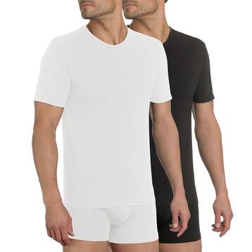 Lot de 2 T-shirts col en V X-Temp blanc et noir-DIM