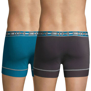 Lot de 2 boxers 3D Flex Stay & Fit bleu et gris plomb-DIM