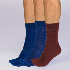 Lot de 3 mi-chaussettes rayures et pois Homme Coton Style-DIM