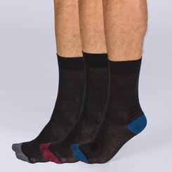 Lot de 3 chaussettes en coton noires Mix and Match Homme-DIM