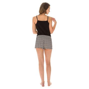 Short de pyjama noir imprimé léopard Femme-DIM