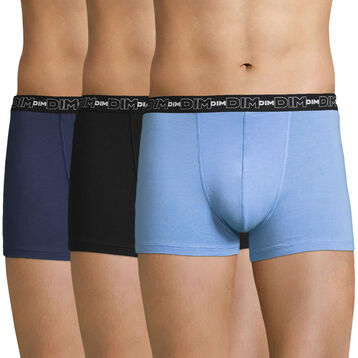 Lot de 3 boxers bleus Coton Stretch-DIM