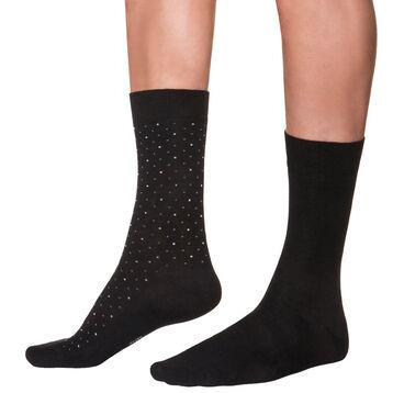 Lot de 2 mi-chaussettes noires à motif plumetis Homme-DIM