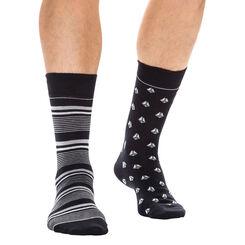 Lot de 2 paires de chaussettes noires à motifs bateaux Homme-DIM