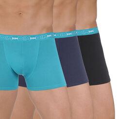 Lot de 3 boxers bleus et noir en coton stretch-DIM