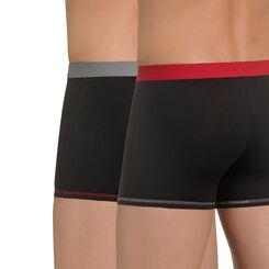 Lot de 2 boxers noirs ceinture rouge et grise Mix & Colors-DIM