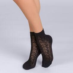 Socquettes noires en coton motif moucharabieh Femme-DIM