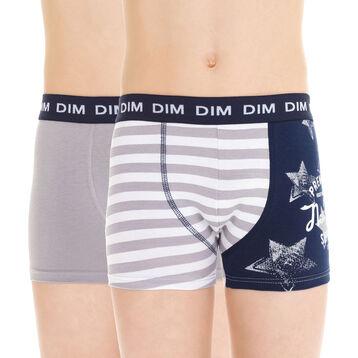 Lot de 2 boxers gris et imprimé américain coton DIM Boy-DIM