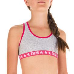 Brassière de sport gris chiné et rose DIM Girl-DIM