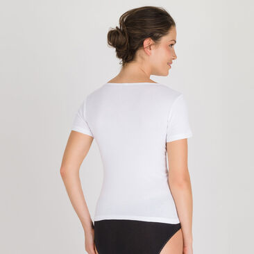 Short Sleeve Top in White - Cotton Liberty -PLAYTEX