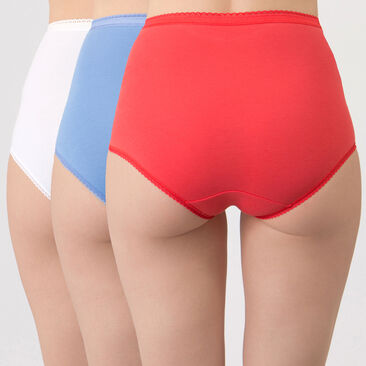 3 Culottes Maxi Bleue, Rouge et Blanche  - Coton Stretch-PLAYTEX