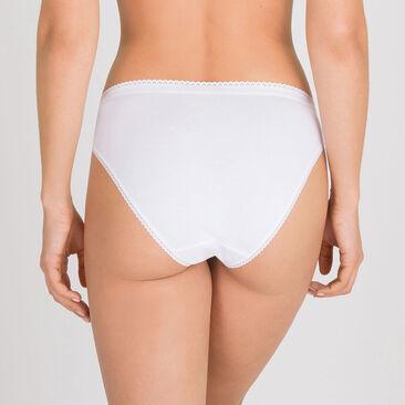 2 Culottes hautes échancrées blanches – Coton Stretch-PLAYTEX