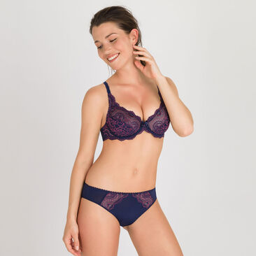Full Cup Bra in Dark Blue Purple - Flower Elegance-PLAYTEX