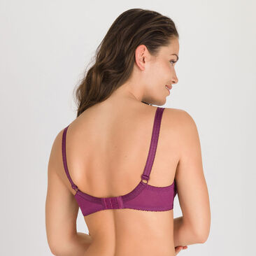 Full Cup Bra in Plum Purple - Classic Lace Support-PLAYTEX