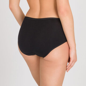 2  Midi Briefs  in Black – Stretch Cotton -PLAYTEX