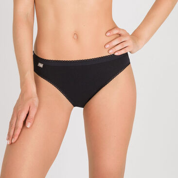 2 High-Leg briefs in Black – Stretch Cotton-PLAYTEX