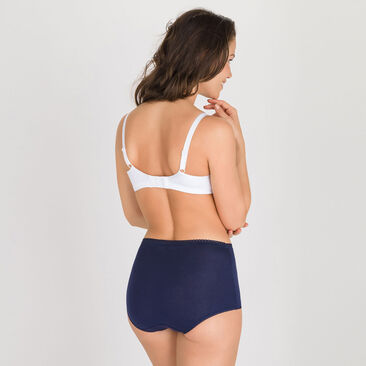 3 Maxi Briefs in White, Plum and Blue - Cotton Stretch-PLAYTEX