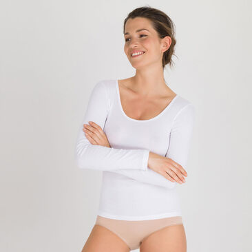 Top manches longues Blanc-Cotton Liberty-PLAYTEX