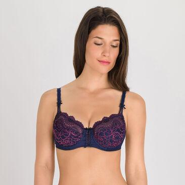 Soutien-gorge balconnet Bleu et violet foncé-Flower Elegance-PLAYTEX