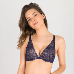 Navy blue and gold push-up triangle bra - Refined Glamour-WONDERBRA