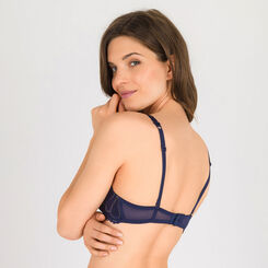 Navy blue and gold Full Effect push-up bra - Refined Glamour-WONDERBRA