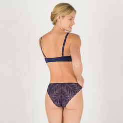 Navy blue and gold lace tanga - Refined Glamour-WONDERBRA