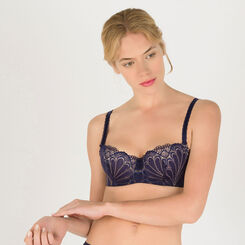 Navy blue and gold push-up balconette bra - Refined Glamour-WONDERBRA