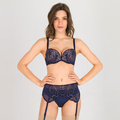 Suspender Belt in navy blue and gold - Refined Glamour-WONDERBRA