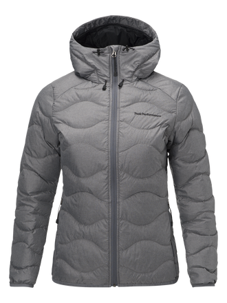 Women's Helium Melange Down Hooded Jacket Grey melange | Peak Performance