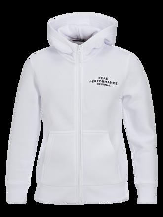 Kids Zipped Hooded Sweater White | Peak Performance