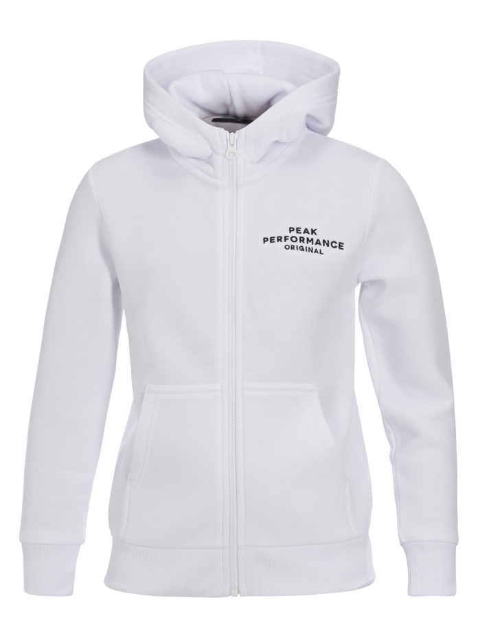 Kids Zipped Hooded Sweater White | Peak Performance