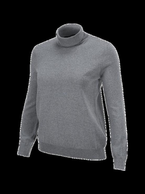 Women's Merino Roll neck sweater Grey melange | Peak Performance