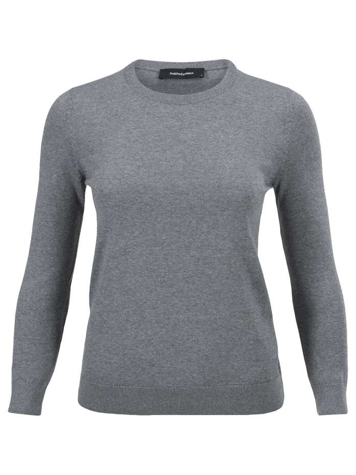 Women's Merino Crew neck Grey melange | Peak Performance
