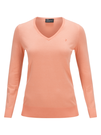 Women's Golf V-neck Sweater Coral Kick | Peak Performance