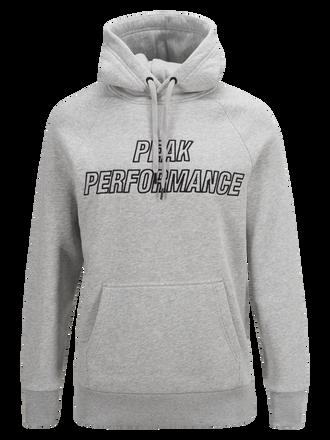 Men's Hooded Sweater Med Grey Mel   Peak Performance