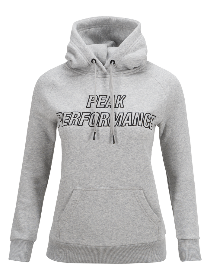 Women's Hooded Sweater Med Grey Mel | Peak Performance