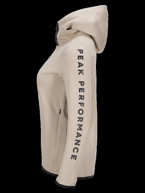 Women's Tech Zipped Hoodie Slow Beige   Peak Performance