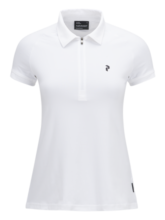 Women's Golf Zipped Short-sleeve Polo White | Peak Performance