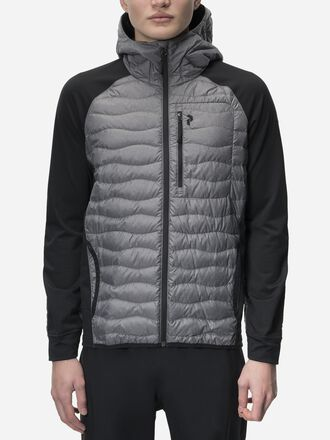 Men's Helium Hybrid Melange Hooded Jacket Grey melange | Peak Performance