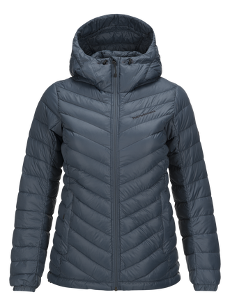 Women's Frost Down Hooded Jacket Blue Steel | Peak Performance