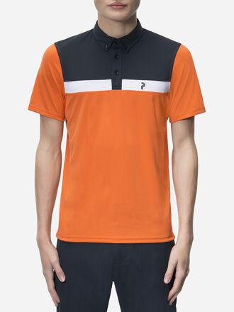 Men's Golf Panmore Button-down Striped Polo Orange Flow | Peak Performance