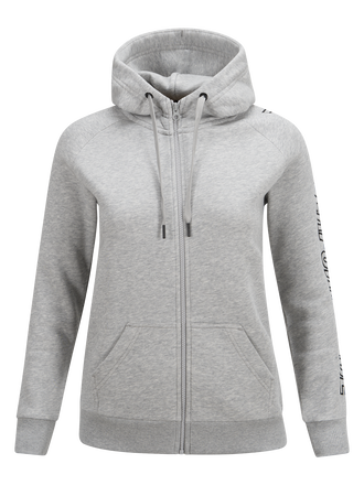 Women's Zipped Hooded Sweater Med Grey Mel | Peak Performance