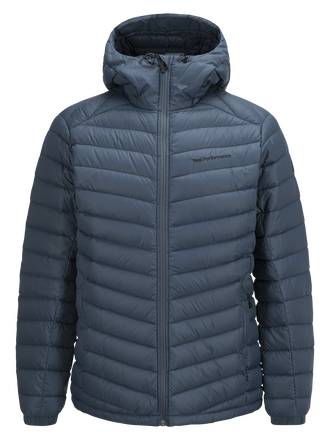 Men's Frost Down Hooded Jacket Blue Steel | Peak Performance