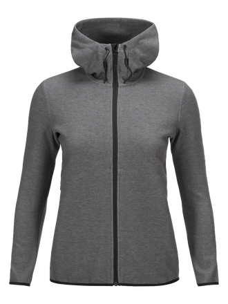 Women's Tech Zipped Hooded Sweater Grey melange | Peak Performance