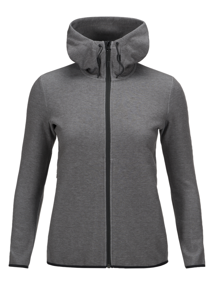 Sweat zippé à capuche femme Tech Grey melange | Peak Performance