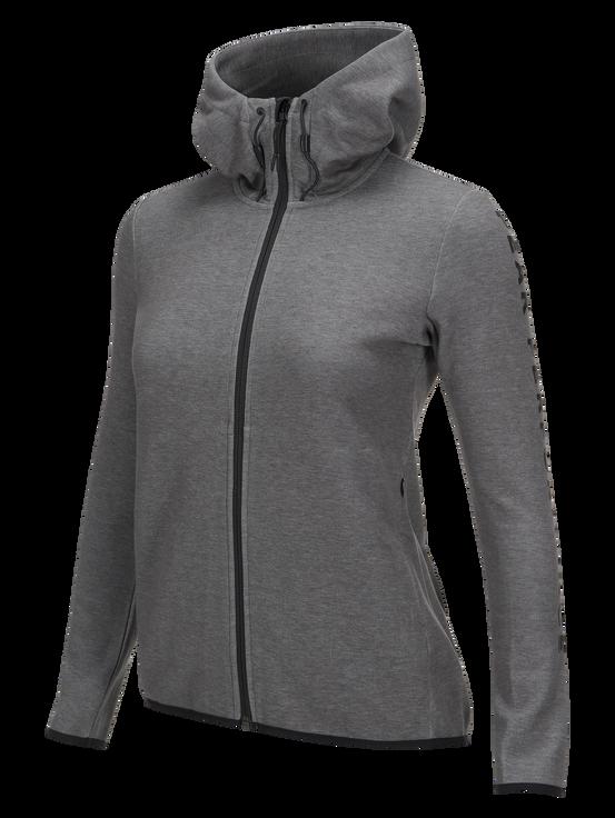 Women's Tech Zipped Hooded Sweater Grey melange | Peak Performance