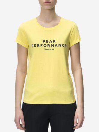 Damen Logo T-Shirt True Yellow | Peak Performance