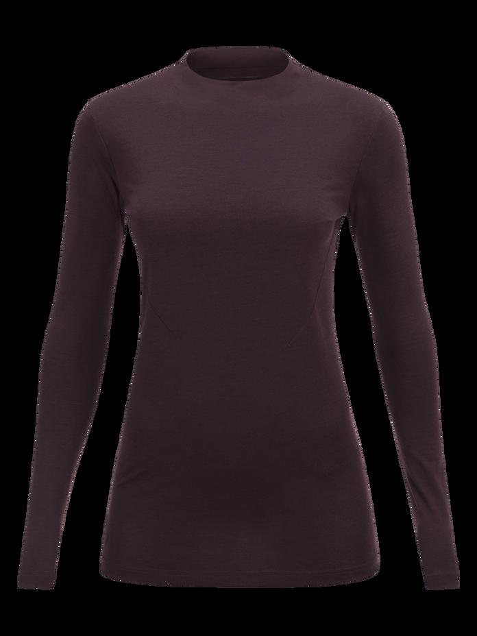 Civil Merino långärmad t-shirt för damer Mahogany | Peak Performance