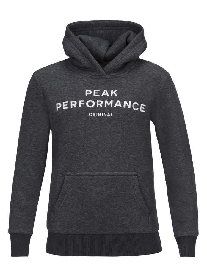 Logo barntröja med huva Dk Grey Mel | Peak Performance